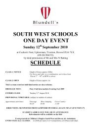 south west schools one day event schedule - Blundell's School
