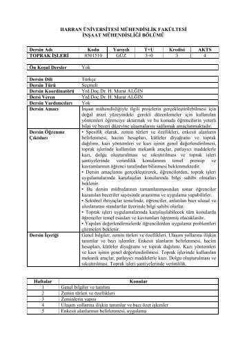Toprak İşleri - Mühendislik Fakültesi - Harran Üniversitesi