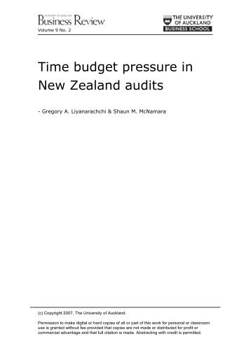 Time budget pressure in New Zealand audits - University of ...