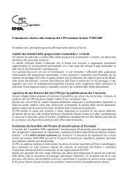 Comunicato relativo alla riunione del CPO tenutasi in data 17 ... - Enea