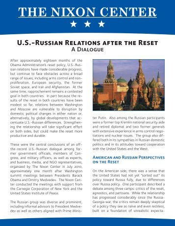 U.S.-Russia Relations After the Reset - Center for The National Interest