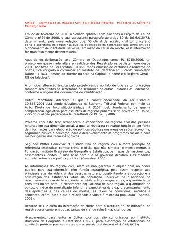Artigo - Informações do Registro Civil das Pessoas Naturais ... - Recivil