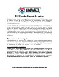 2006 Camping Rules & Regulations - Charlotte Motor Speedway