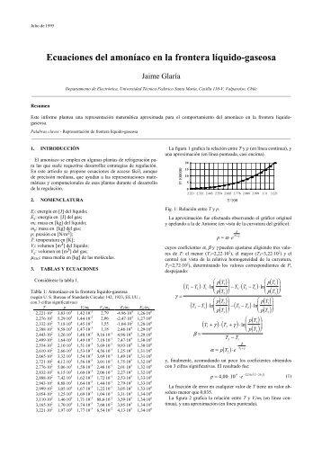 Ecuaciones del amoníaco en la frontera líquido-gaseosa