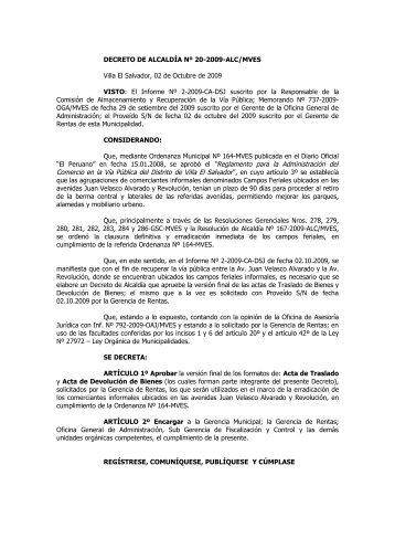 Decreto de Alcaldía Nº 020-2009-ALC/M VES - Municipalidad de ...