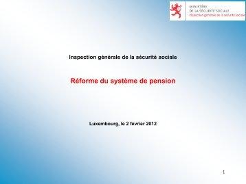 Réforme du système de pension - Ministère de la sécurité sociale