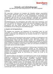Verkaufs- und Lieferbedingungen - Borchers GmbH