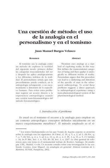 Una cuestión de método: el uso de la analogía ... - Ciudad Redonda