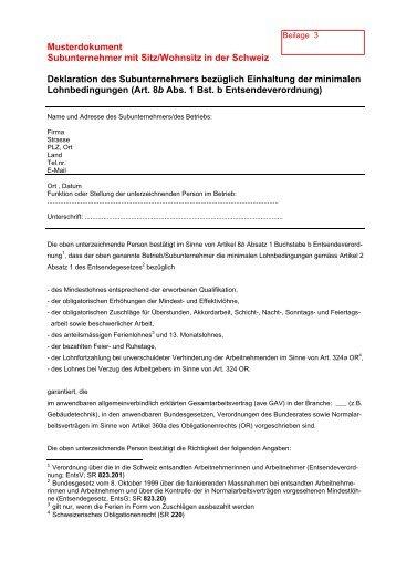 musterdokument subunternehmer mit sitzwohnsitz in der schweiz - Subunternehmervertrag Muster