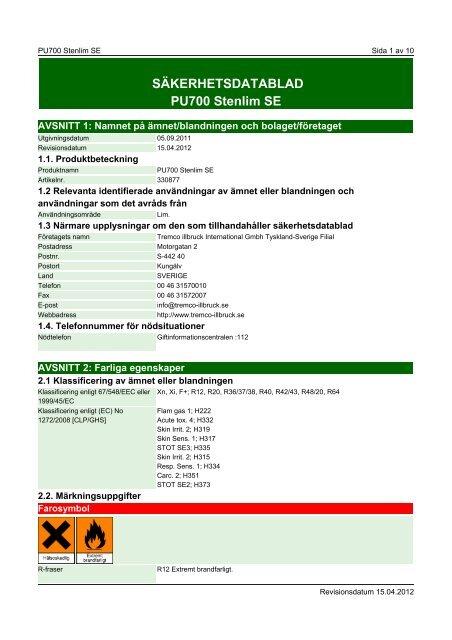 Säkerhetsdatablad (MSDS) (391.2 KB - pdf) - Jula