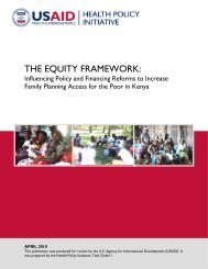 THE EQUITY FRAMEWORK: - Health Policy Initiative