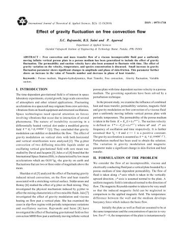 Effect of gravity fluctuation on free convection flow S.C. Rajvanshi ...