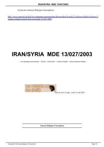 IRAN/SYRIA MDE 13/027/2003 - amnesty.be