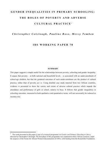 GENDER INEQUALITIES IN PRIMARY SCHOOLING - Institute of ...