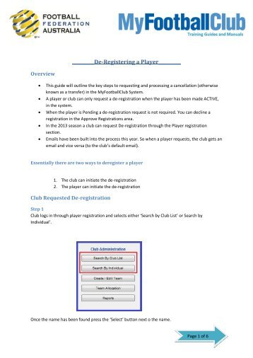 De-Registering a Player - MyFootballClub