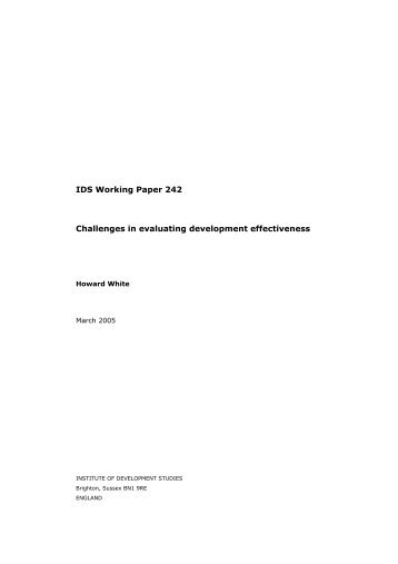 IDS Working Paper 242 Challenges in evaluating development ...