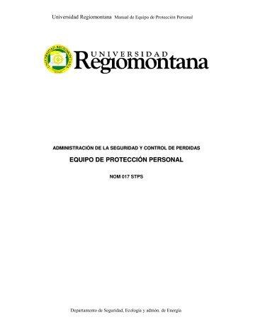 EQUIPO DE PROTECCIÓN PERSONAL - Universidad Regiomontana
