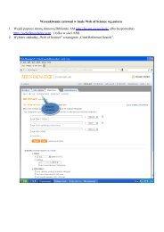 Wyszukiwanie cytowań w bazie Web of Science wg autora 1. Wejdź ...