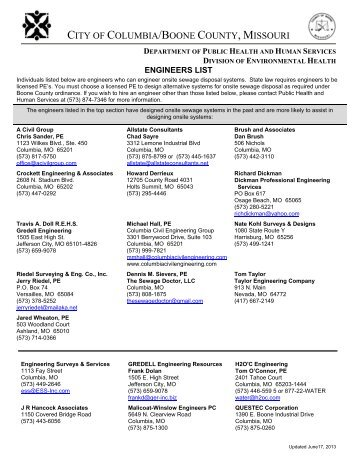 Approved engineers list - City of Columbia, Missouri