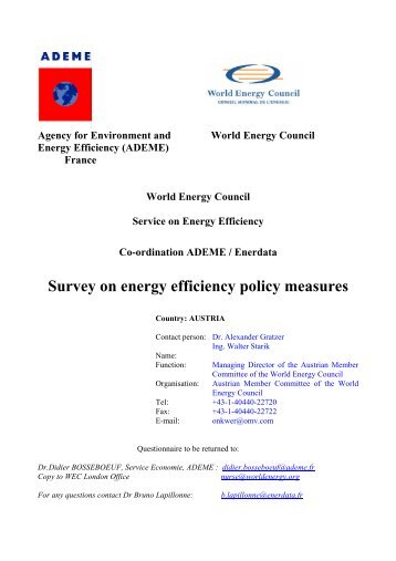 Survey on energy efficiency policy measures - WEC