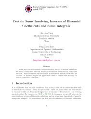 Certain Sums Involving Inverses of Binomial Coefficients and Some ...