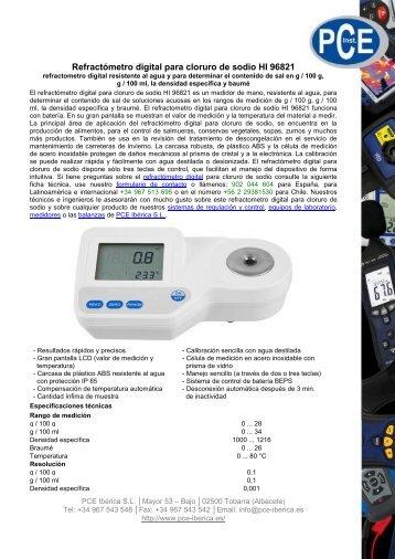Refractómetro digital para cloruro de sodio HI 96821 - PCE Ibérica