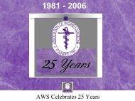 AWS Celebrates 25 Years - Association of Women Surgeons
