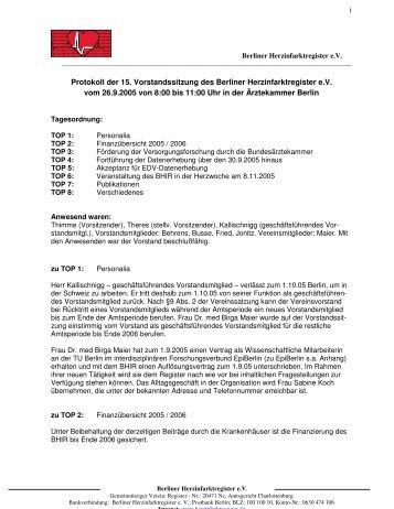 Protokoll der 15. Vorstandssitzung des Berliner Herzinfarktregister ...