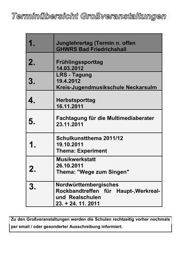 Junglehrertag (Termin n. offen GHWRS Bad ... - Kultusportal