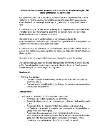 Documento da gripe Estados do Sul - Secretaria Estadual da Saúde ...