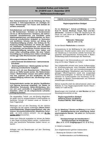 Amtsblatt Kultus und Unterricht Nr. 21/2010 vom 1 ... - Kultusportal