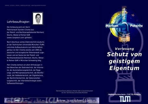 TUM_Flyer Vorlesung Patentrechrecht Semester 2007/08