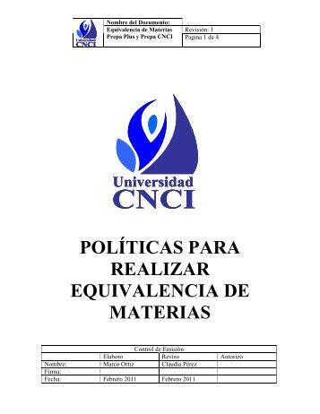 POLÍTICAS PARA REALIZAR EQUIVALENCIA DE MATERIAS