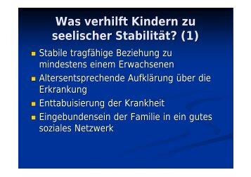 Was verhilft Kindern zu seelischer Stabilität? (1)