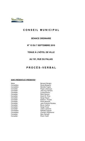 7 septembre - séance ordinaire (PDF - 340 Ko) - Ville de Sherbrooke