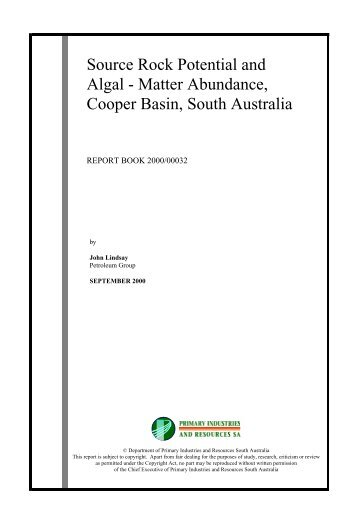 Source Rock Potential and Algal - Matter Abundance ... - MISA