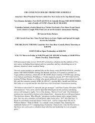 CBS ANNOUNCES 2010-2011 PRIMETIME SCHEDULE America's ...