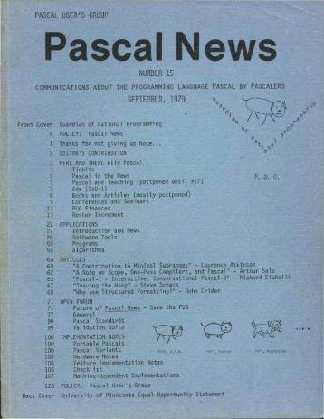 Pascal News - Al Kossow's Bitsavers