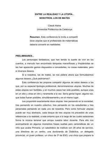 ENTRE LA REALIDAD Y LA UTOPÍA... NOSOTROS, LOS DE ... - UPC