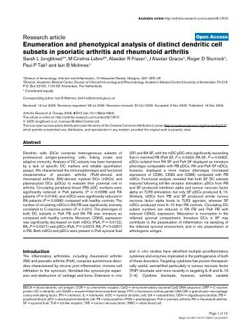 Enumeration and phenotypical analysis of distinct ... - BioMed Central