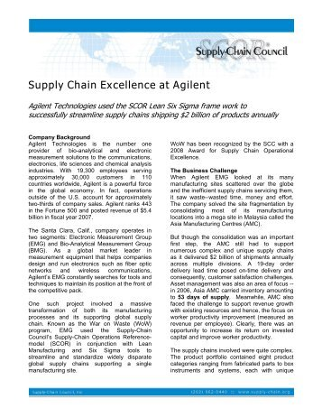 Supply Chain Excellence at Agilent - Supply Chain Council