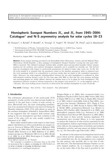 Hemispheric Sunspot Numbers Rn and Rs from 1945–2004 ...