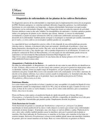 Diagnóstico de enfermedades de las plantas de ... - UMass Extension