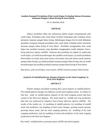 Analisis Dampak Perubahan Pola Curah Hujan ... - Blogs Unpad