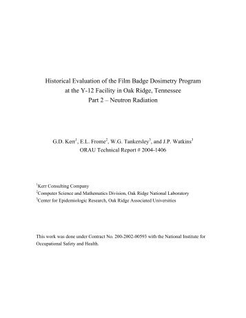 Historical Evaluation of the Film Badge Dosimetry Program at the Y ...