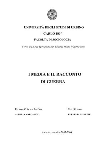 I MEDIA E IL RACCONTO DI GUERRA - PeaceLink