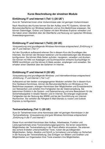 Einführung IT und Internet I