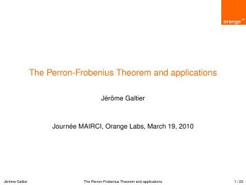 The Perron-Frobenius Theorem and applications