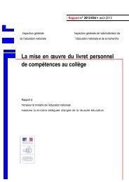 La mise en oeuvre du livret personnel de compétences au collège ...