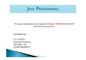 Java Programming - GITAM University